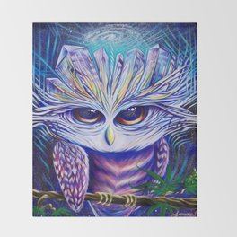 Owl Crystals Throw Blanket