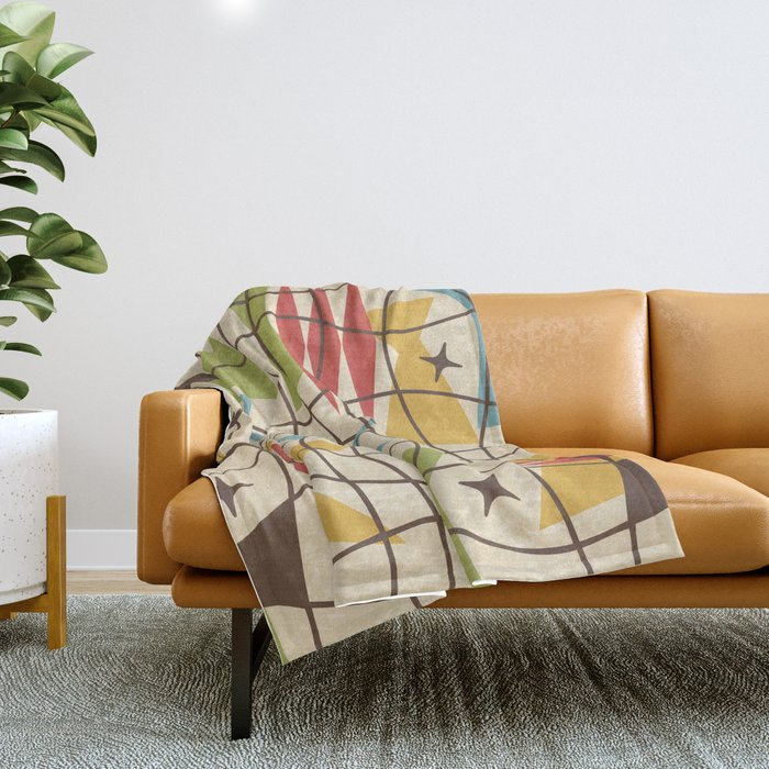 Mid Century Modern Abstract Pattern 571 Throw Blanket