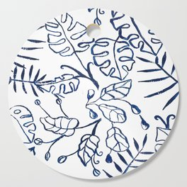Tropical Plant Boho Chinoiserie Blue and White Cutting Board