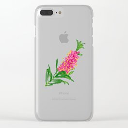Beautiful Pink Australian Native Floral Illustration Clear iPhone Case
