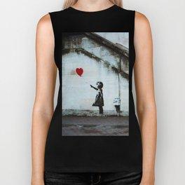 Banksy street art / photograph - girl with red ballon Biker Tank