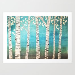 Turquoise birch forest Art Print