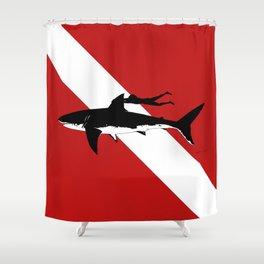 great white shark dive Shower Curtain