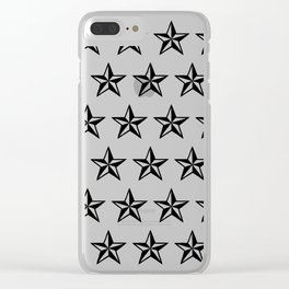 White Tattoo Style Star on Black Clear iPhone Case