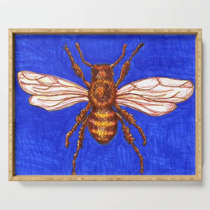 Textured Blue Bee Serving Tray