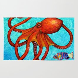 Distracted - Octopus and fish Rug