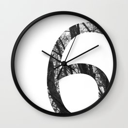 Minimal Number Six Print With Photography Background Wall Clock