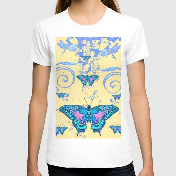 ORNATE BLUE BUTTERFLIES SCROLL DESIGNS  ART T-shirt