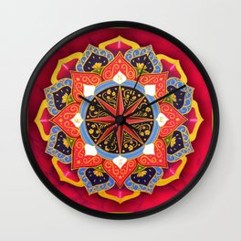 """""""Rose of the Winds"""" Pink mandala by Ilse Quezada Wall Clock"""