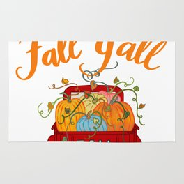 Happy Fall Y'all Vintage Pumpkin Truck Hand Lettered Hand Drawn Rug