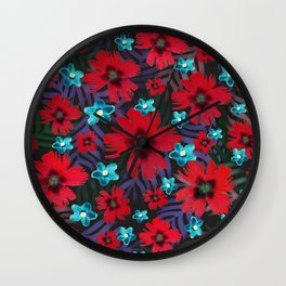 Carnations & Columbine Flowers Wall Clock