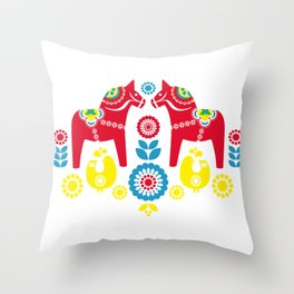 Swedish Dalahäst Throw Pillow