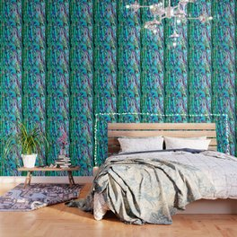 Glowing Aqua Abalone Shell Mother of Pearl Wallpaper