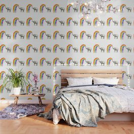 Baby Elephant Spraying Rainbow Whimsical Animals Wallpaper