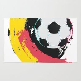 Football ball and red, yellow strokes Rug