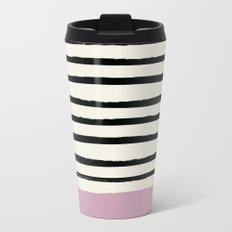 Dusty Rose & Stripes Travel Mug