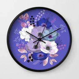 Anemones & Gardenia Blue bouquet Wall Clock
