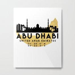 ABU DHABI UNITED ARAB EMIRATES SILHOUETTE SKYLINE MAP ART Metal Print