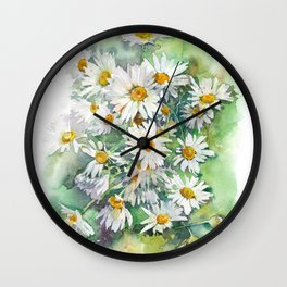 Watercolor chamomile white flowers Wall Clock