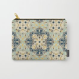 Protea Pattern in Deep Teal, Cream, Sage Green & Yellow Ochre  Carry-All Pouch