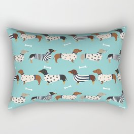 Dachshund sweaters cute gifts for dog lover pet friendly dog breed dachsie doxie dogs Rectangular Pillow