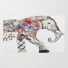 Boho Elephant Mixed Media Design III Rug