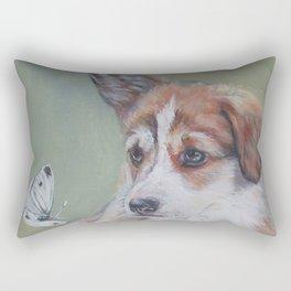 Pembroke Welsh Corgi dog portrait painting by L.A.Shepard fine art Rectangular Pillow