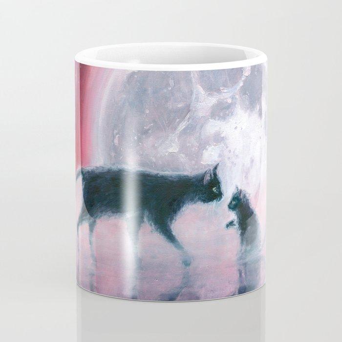 cats meeting at full moon Coffee Mug