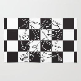 Kitchen Tools Checkerboard Rug