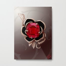 The Knightly rose brooch Metal Print