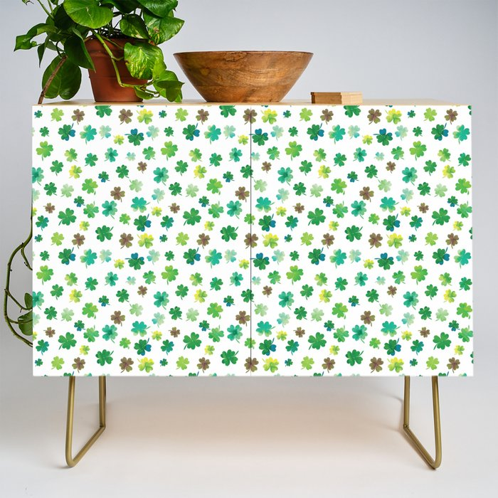 Lucky Watercolor Clovers Credenza