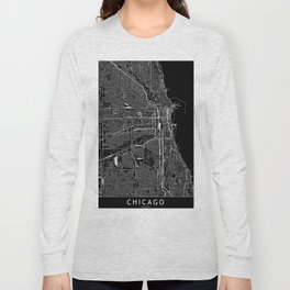 Chicago Black Map Long Sleeve T-shirt