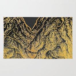 """遠望 series -""""Gold Valley"""" - Linocut Rug"""