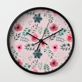 Grey and Pink Water Color Flowers and Leaves Pattern Wall Clock