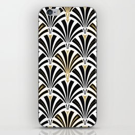 Art Deco Fan Pattern, Black and White iPhone Skin