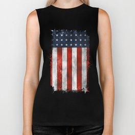 American Flag Stars and Stripes Distressed Grunge 4th. July Biker Tank