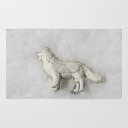 Clay Dog in the Snow Rug