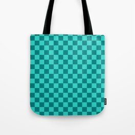Teal and Turquoise Checkerboard Tote Bag