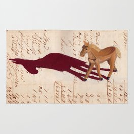 Vintage Wood Carved Horse in Gouache Rug