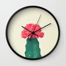 Red Plaid Cactus Wall Clock