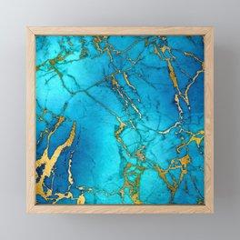Gold And Teal Blue Indigo Malachite Marble Framed Mini Art Print