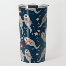 Otters Playing Travel Mug