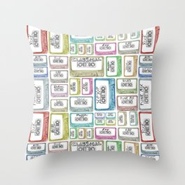 Tape Mix 2 Vintage Cassette Music Collection Throw Pillow