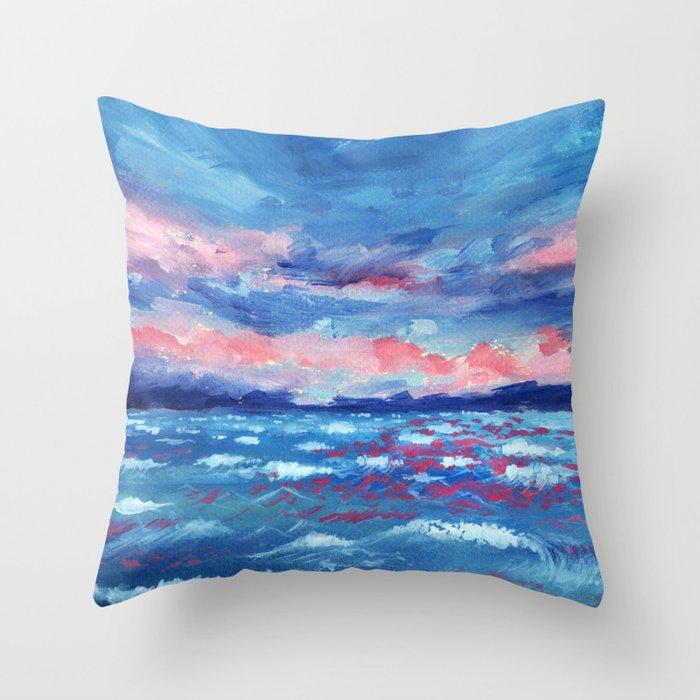 Sea Storm Oil Canvas Throw Pillow