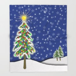 Lighted Christmas Tree at Night with Snowflakes Throw Blanket