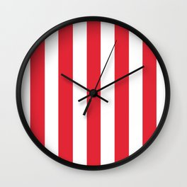 Rose madder red - solid color - white vertical lines pattern Wall Clock