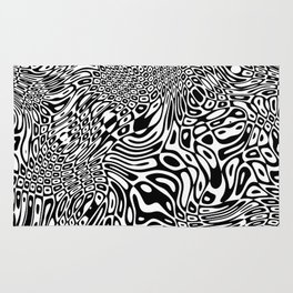 Black  and white psychedelic optical illusion Rug