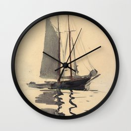 Vintage Schooner Sailboat Watercolor Painting (1894) Wall Clock