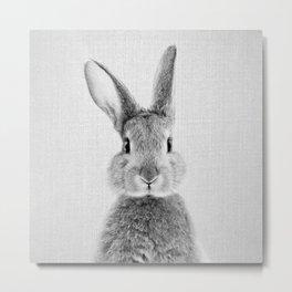 Rabbit - Black & White Metal Print
