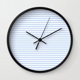 Mattress Ticking Narrow Horizontal Stripe in Pale Blue and White Wall Clock